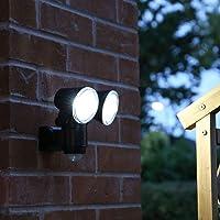Luz de seguridad para exteriores, funciona con pilas, sensor de movimiento PIR, 350 lúmenes, foco LED