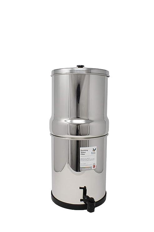 British Berkefeld W9361150 - Dispensador de agua con filtro de gravedad, de acero inoxidable,