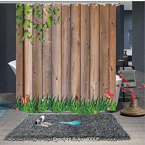 AngelDOU Farm House Decor Lightweight Durable Fabric Shower Curtain Fresh Spring Season Jardin with Butterflies and Ladybugs in Park Scene Artwork for Bathroom with Free -