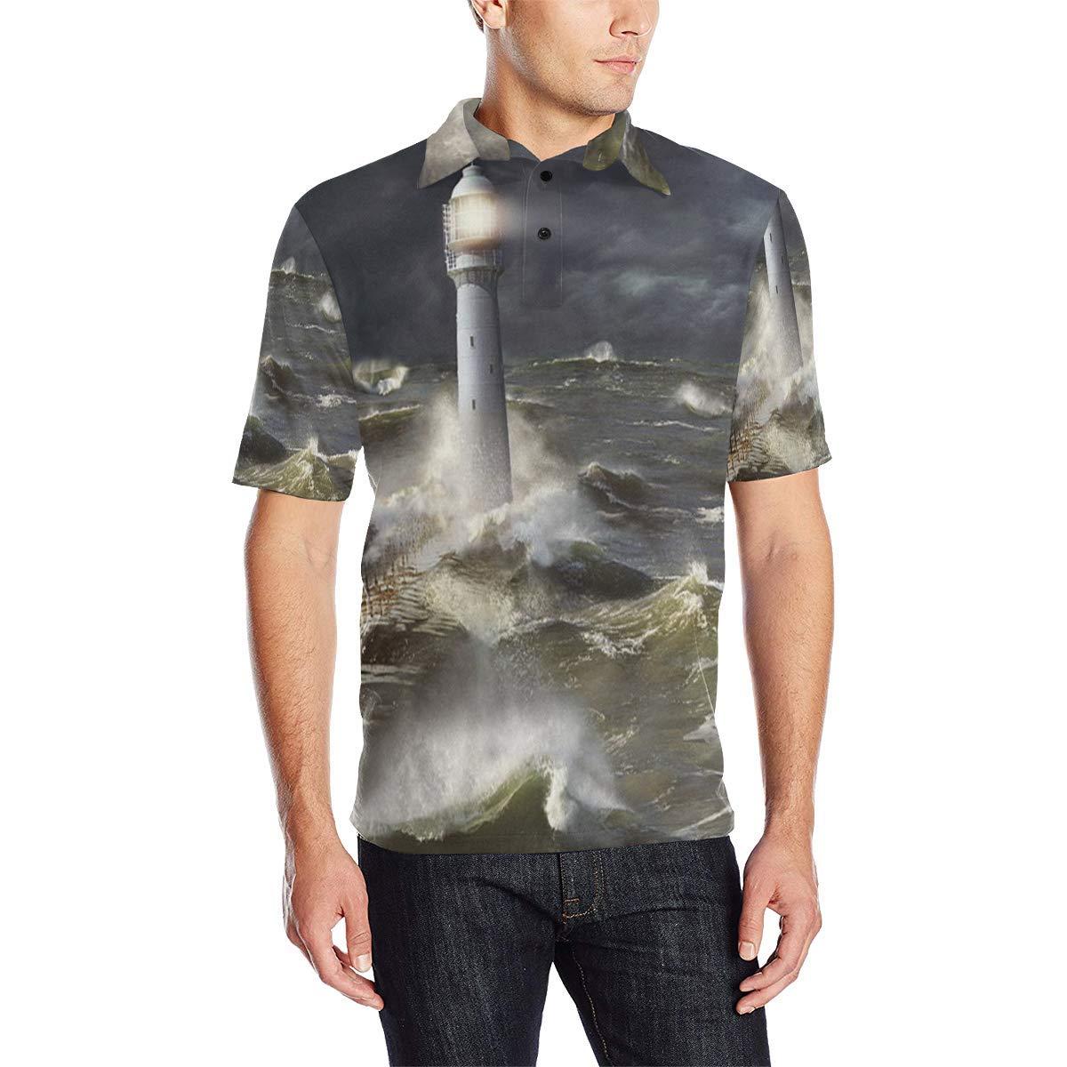 COL DOM Short Sleeve Lighthouse Crashing Waves Mens All Over Print Polo Shirt