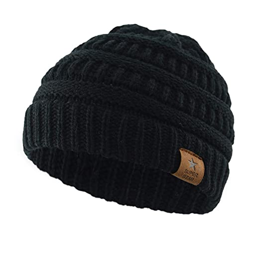 Zando Kids Baby Toddler Ribbed Knit Children Winter Hats Beanies Caps Black 458cd77171e