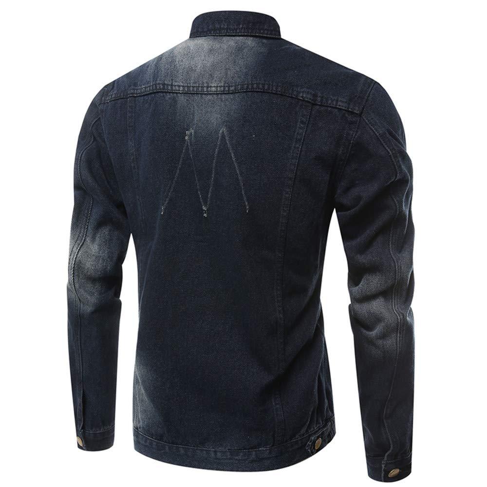 Herren Denim Mantel,Herren Revers Jacket Coat Mit Knopf