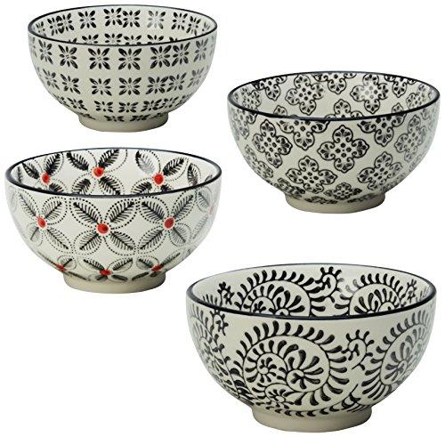 Signature Housewares Print 1 Bowls, 5-Inch, Black, Set of 4