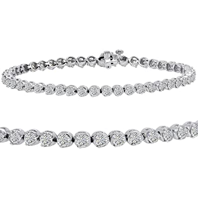 0430acd9b69 Image Unavailable. Image not available for. Color  AGS Certified 5ct tw Diamond  Tennis Bracelet in 14K White Gold 7 ...