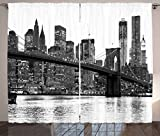 Ambesonne Modern Curtains, Brooklyn Bridge Sunset with Manhattan American New York City Famous Town Image, Living Room Bedroom Window Drapes 2 Panel Set, 108 W X 84 L Inches, Black and White