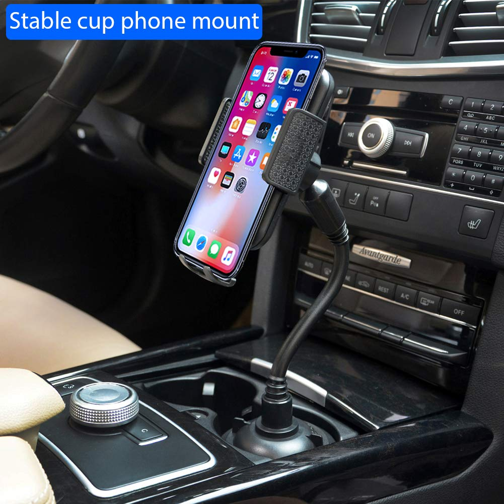 Pemsem Cup Holder Phone Mount - Universal Adjustable Gooseneck Expandable Base Cell Phone Cradle with Dust Cover Fits Most Mobile Phone iPhone Galaxy Pixel Car Cup Holder