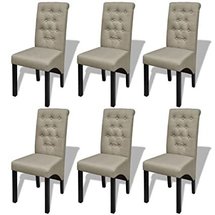 Amazing Amazon Com Chloe Rossetti 6 Scroll Back Linen Coated Wood Caraccident5 Cool Chair Designs And Ideas Caraccident5Info