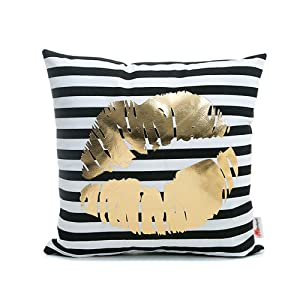 Monkeysell Bronzing Flannelette Home Throw Pillow Cover Lips Love Black Striped White Print Gold Black Room Decor Throw Pillows Cover for Couch Bed Sofa Christmas Gift18 inches
