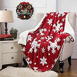"Christmas Throw Blanket Jacquard Shu Velveteen Throw with Snowflakes Soft Cozy and Warm Sofa Blanket, 60"" x 80"" Red/White by Bedsure"