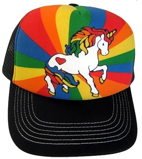 Amazon.com  Unicorn Rainbow Trucker Hat Baseball Cap Has Plastic Adjustable  Snapback  Clothing 575843867a4
