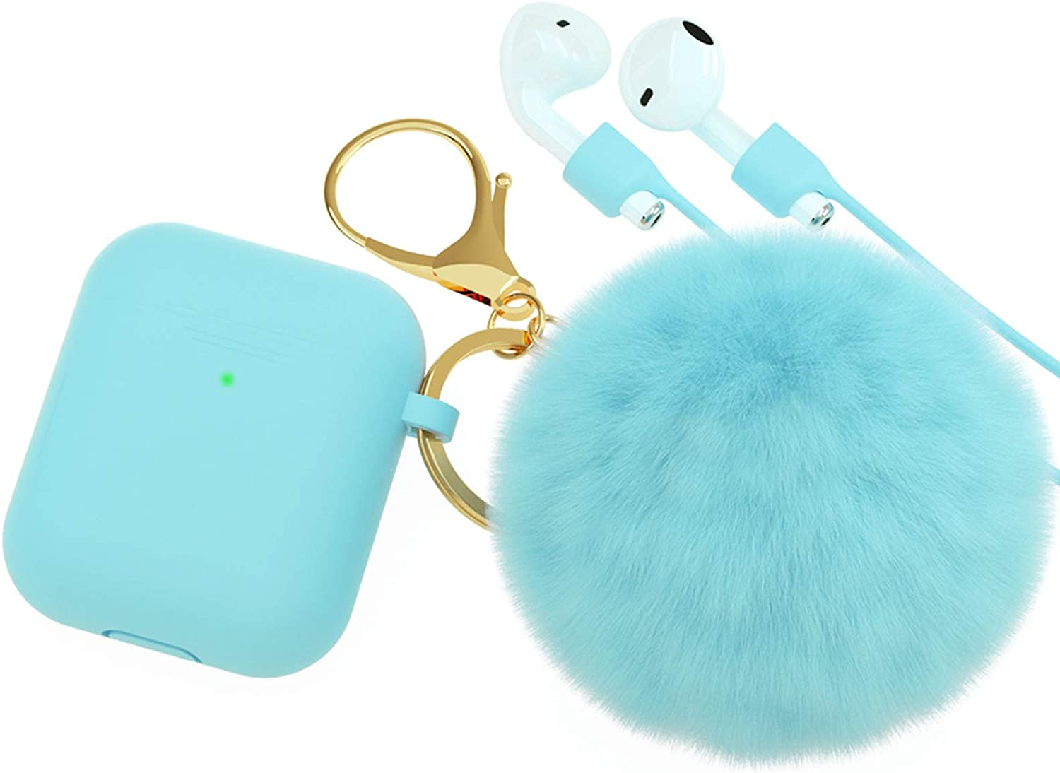BRG for AirPods Case,Soft Cute Silicone Cover for Apple Airpods 2 & 1 Cases with Pom Pom Fur Ball Keychain/Strap/Earbuds Accessories (Front LED Visible) (Turquoise)