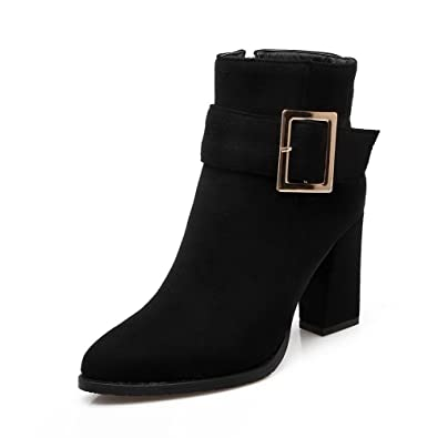 Women's High-Heels Pointed Closed Toe Imitated Suede Low-Top Solid Zipper Boots Black-Buckle 32