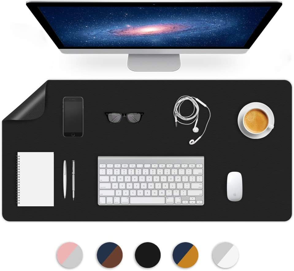 Dual-Sided Using Desk Pad Desk Blotter Mats Office Table Protector Mat on Top of Writing Gaming Desks Laptop Computer Tabletop Desktop Cover Large Mousepad Pads Décor Accessories 24X48 Inch Black