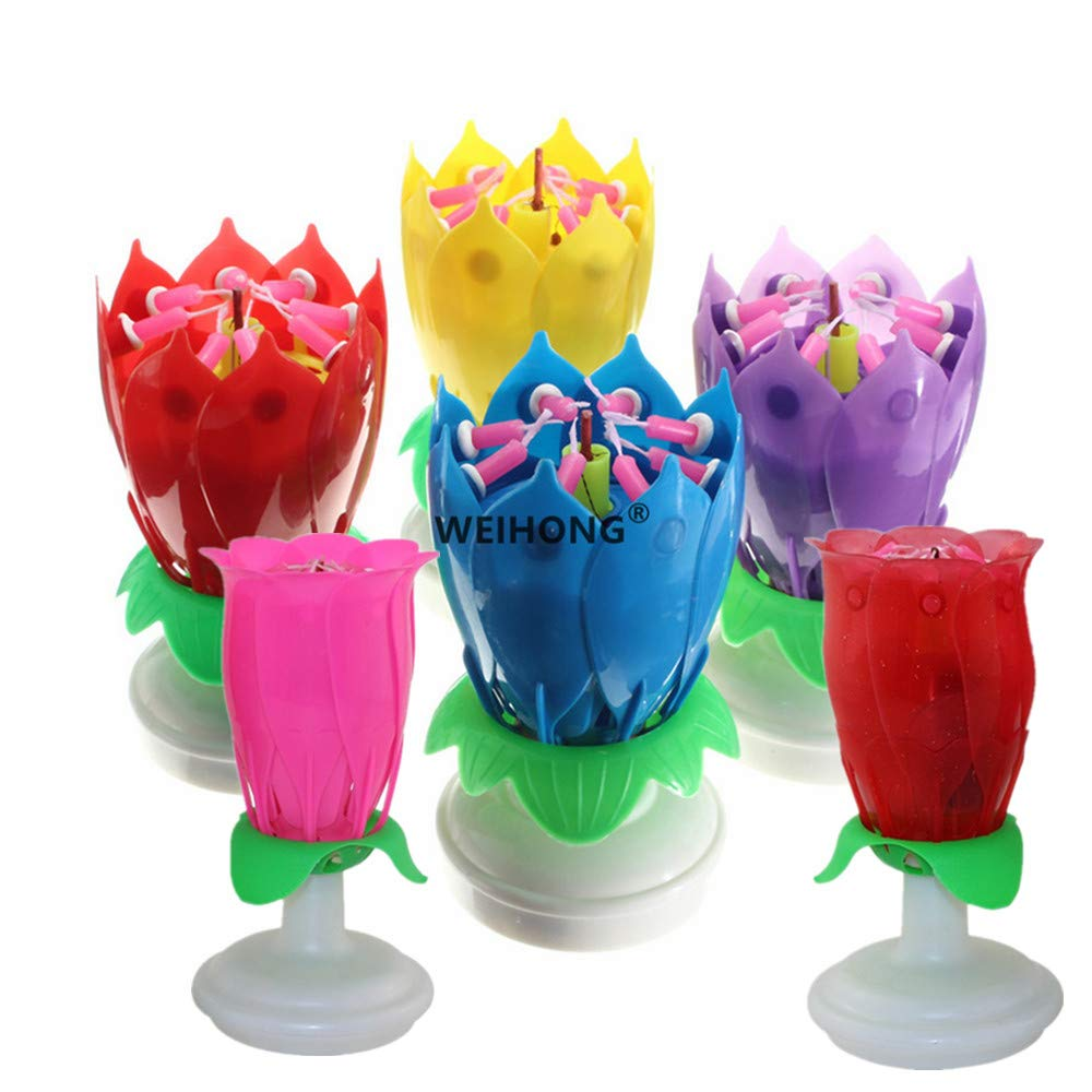Mobestech Lotus Birthday Candles Musical Birthday Candlesfor Birthday Cake Decor
