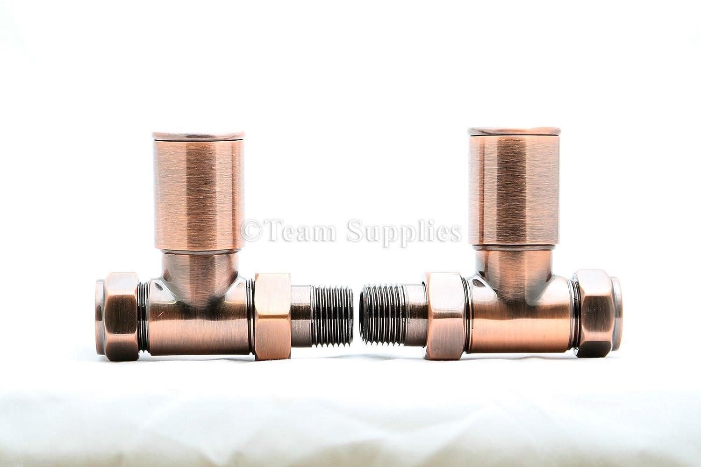 Luxury Antique Copper Towel Rail Radiator Valve HP 15MM Straight Pair Twin Pack BiWorld Controls