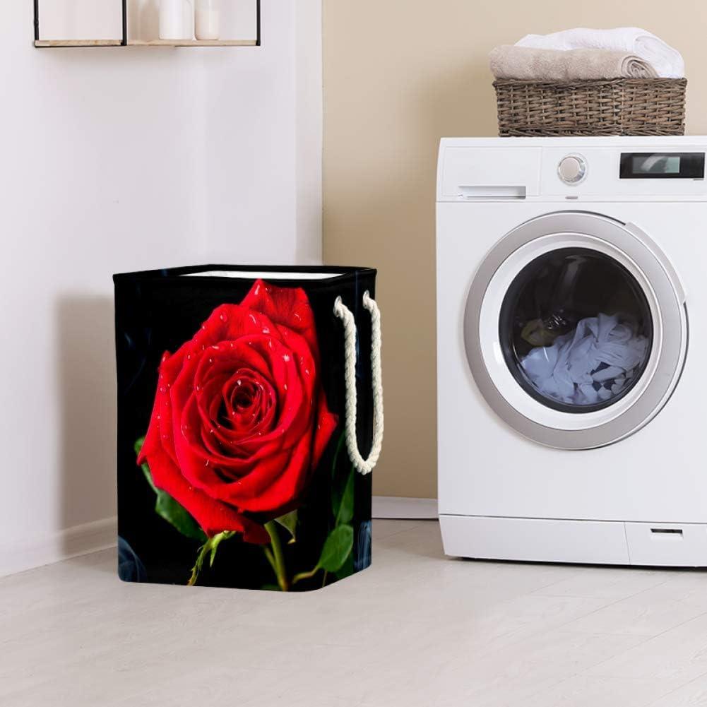Indimization Soleil Rouge Sac à Linge Rectangle en Tissu Oxford avec poignées Panier de Rangement Haute capacité 49x30x40.5 cm Color1
