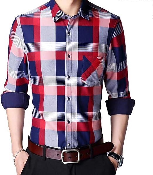 YaXuan Camisas del Negocio de los Hombres, Invierno Hombre Camisa Caliente de los Hombres a Cuadros Manga Larga más Terciopelo Engrosamiento con la Camisa de Terciopelo Ocasional de Mediana Edad m: Amazon.es: