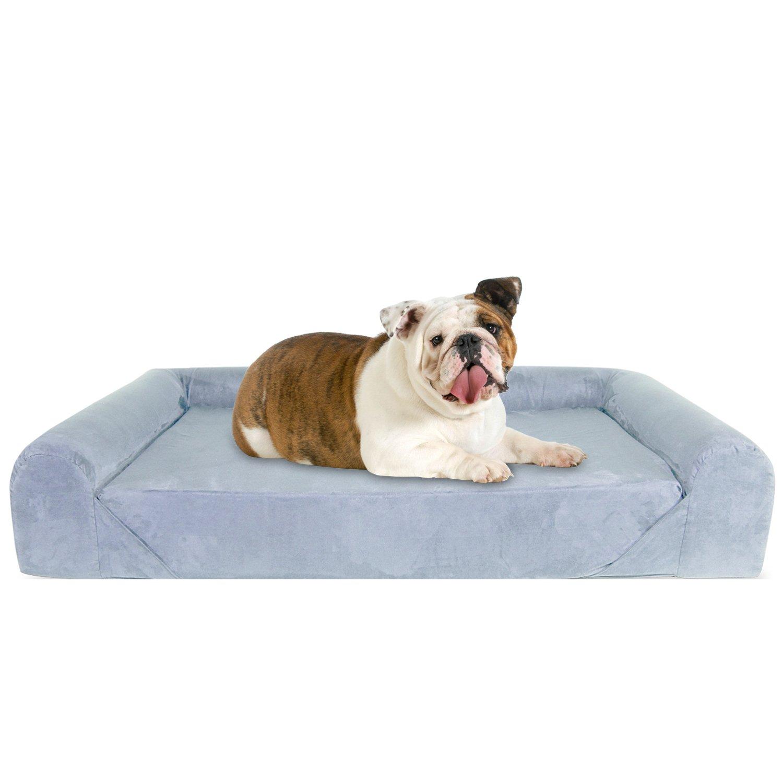 KOPEKS Deluxe Orthopedic Memory Foam Sofa Lounge Dog Bed - Large - Grey