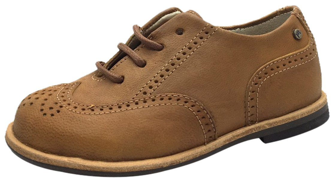 Manuela de Juan Boy's & Girl's British Distressed Tan Leather Lace Up Oxford Shoes With Perforated Penguin Toe 31 M EU/13.5 M US Little Kid