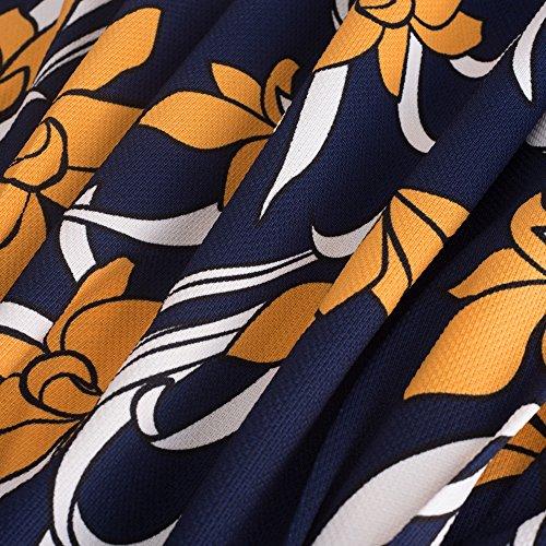 Crayon Moulante col Affaires Bleu Jaune HOMEYEE Fonc Femmes Robe B430 Stand Vintage Manches Courtes 81qZTFqw