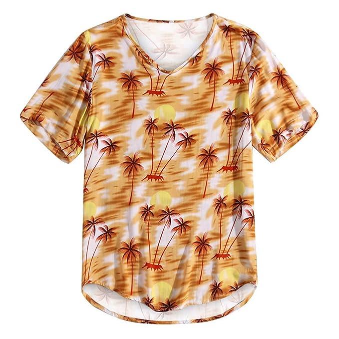 XuanhaFU Camisetas Hombre Estilo Hawaiano Manga Cortos Verano Moda ...