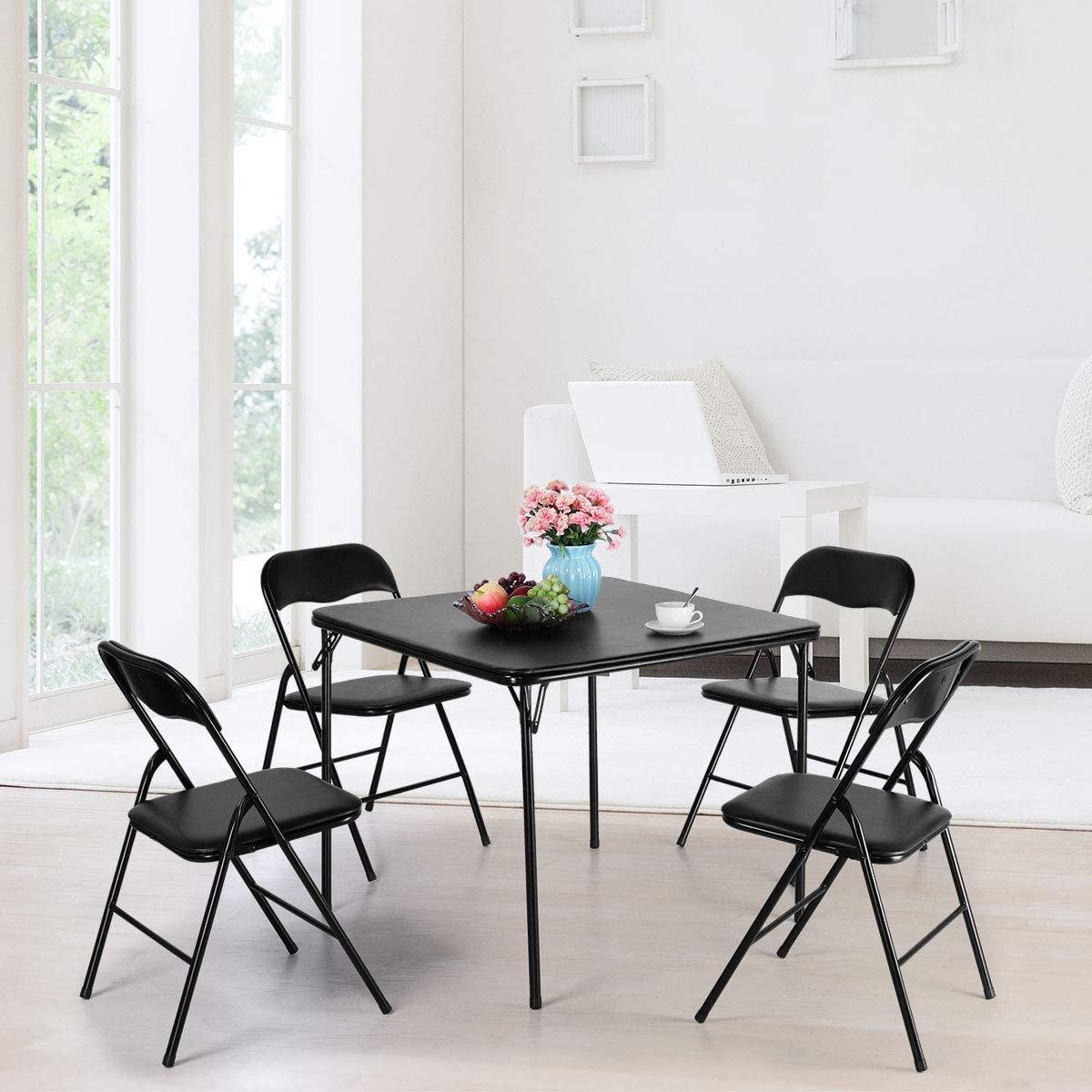 5-Piece Folding Table and Chair Set Multipurpose Kitchen Dining Games Table w Padded Seat