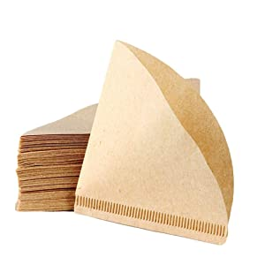 TianJi Coffee Filter Natural Brown Paper 2-Pack Value Set for Osaka Chemex Hario Bodum and Other Carafes (Total of 80 Sheets)