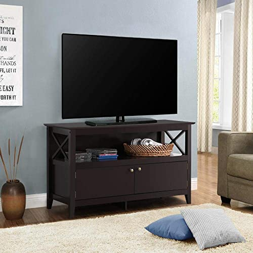 YAHEETECH Universal Media TV Stand Entertainment Center TV Storage Console Table with Open Shelf, Brown