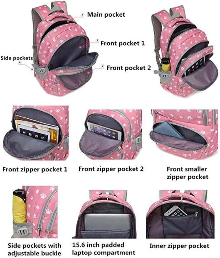 Adanina 3Pcs Dog Paw Prints Backpack Back Sets Primary School Student Book Bag School Bag for Students