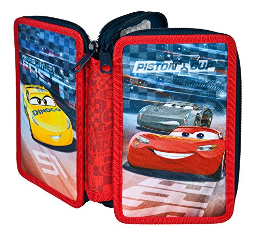 (Scooli CAAD0433 Ja Double Decker Stabilo Brand Filled School Pencil Case – Disney Pixar Cars)