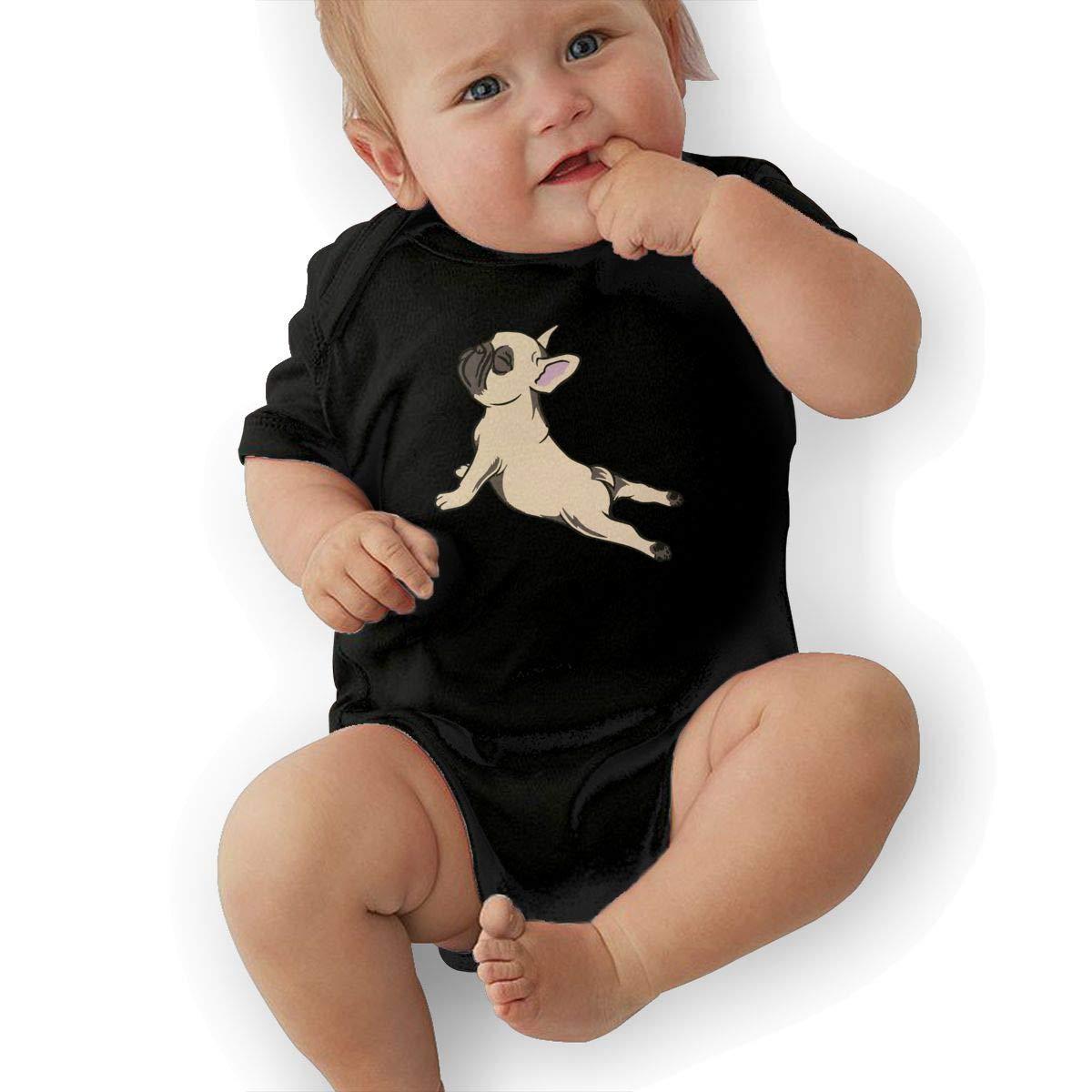 Soft French Bulldog Sleepwear U88oi-8 Short Sleeve Cotton Rompers for Baby Girls Boys