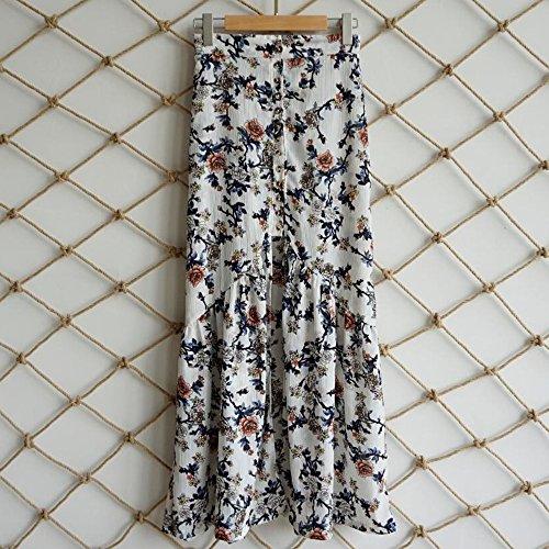 Casual Shujin Jupe Florale Longue Femme Dress Motif Imprim Demi Blanc Volants Jupe Irrgulire Vintage E164qrw1a