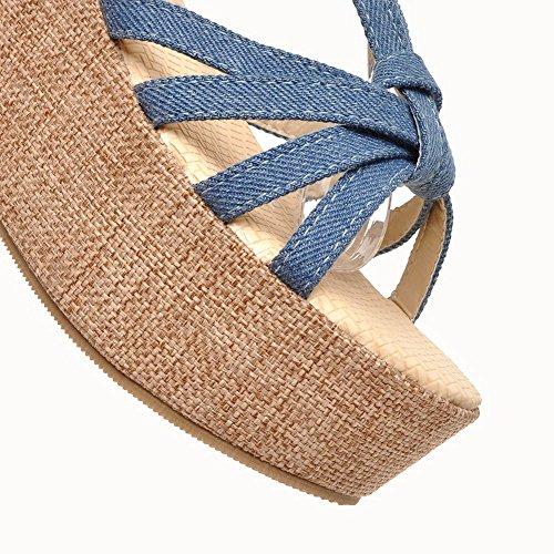Amoonyfashion Femmes Bout Ouvert Talons Hauts Matériau Souple Solide Boucle Sandales Bleu