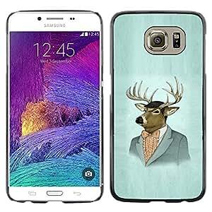 Be Good Phone Accessory // Dura Cáscara cubierta Protectora Caso Carcasa Funda de Protección para Samsung Galaxy S6 SM-G920 // Deer Portrait Art Drawing Painting Suit Vintage
