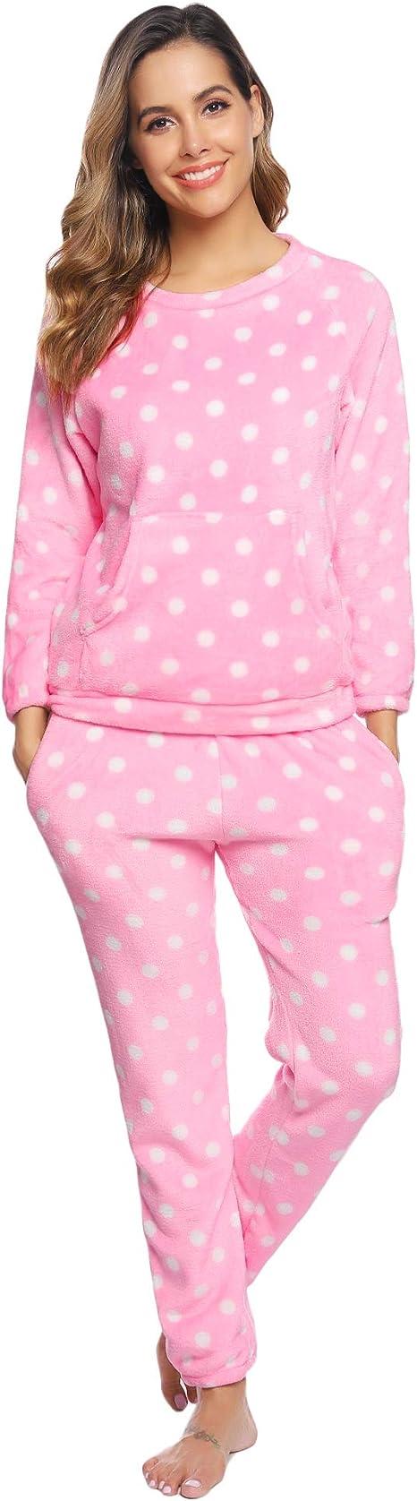 Hawiton Pijamas Mujer Invierno Polar Pijama de Manga Larga Franela Conjunto de Pijama para Mujer Ropa de Casa 2 Piezas: Amazon.es: Ropa y accesorios
