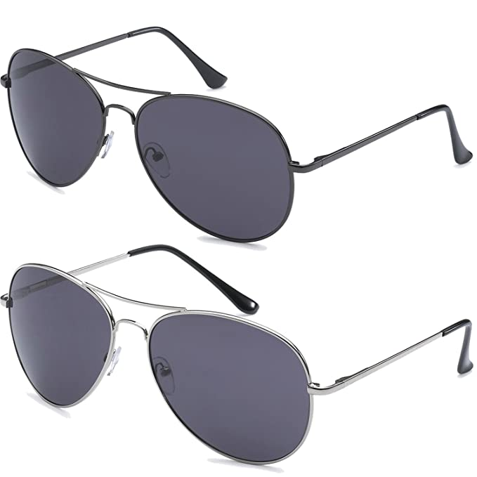18482f932bb4 Amazon.com: Polarized Aviator Sunglasses lot of 2 Silver/Black: Clothing