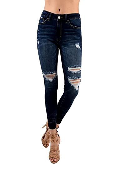 Buy Kancan Kan Can Women S High Rise Destroyed Cropped Skinny Jeans 9 Dark Wash Kc6180d At Amazon In