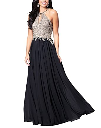 DESHE Womens Appliqued Long Prom Dress Hater Chiffon Party Dress Black US2