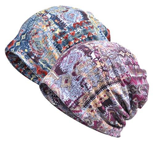 Jemis Womens Cotton Chemo Hat Beanie Scarf - Beanie Cap Bandana for Cancer (Purple and Blue)