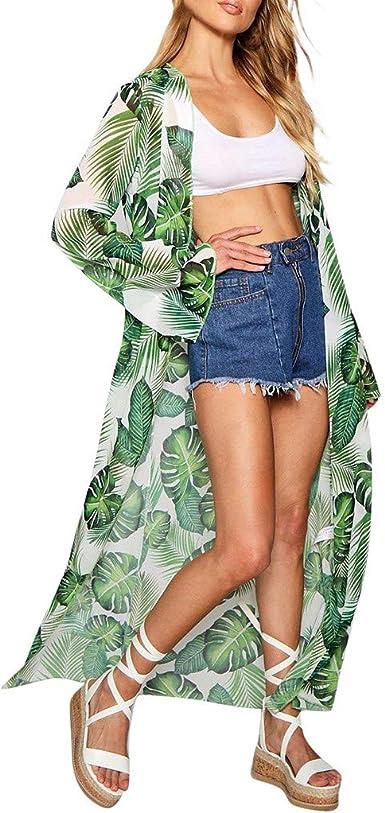 DEELIN Moda Mujer Gasa Mantón Hojas ImpresióN Kimono Cardigan Tapa ...