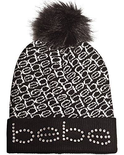 bebe Women's Faux Fur Pom Pom Beanie Hat, Printed Black and White''