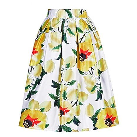 FSDFASS Faldas High Street Lemon Estampado Floral Faldas de una ...