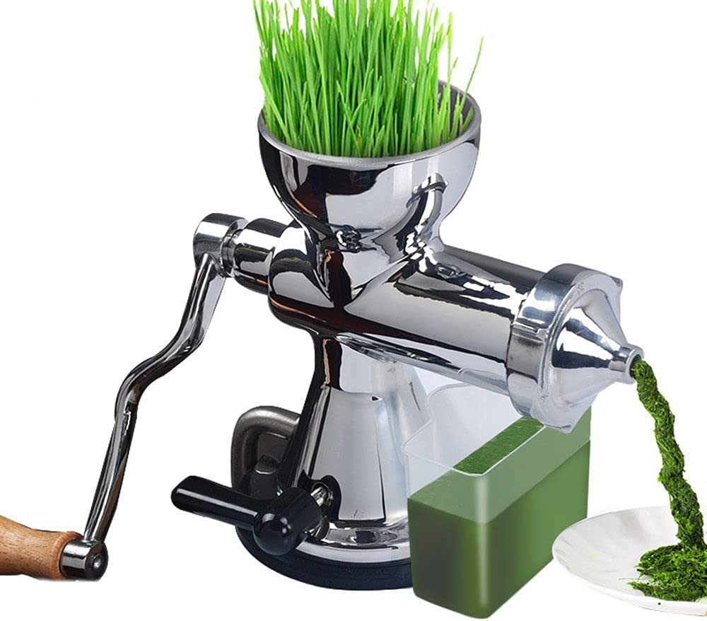 Wheatgrass stainless steel manual juicer, with Suction Cup Base & Desktop Clamp Wheat Grass Grinder Long Screw Shaft for Juicing Gingers Apples Grapes