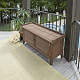 Home Styles Montego Bay Barnside Brown Outdoor Solid Wood Storage Bench with Shorea Wood, Slatted Panels, Weathered Brown Finish, and Middle Panel and Center Leg Support