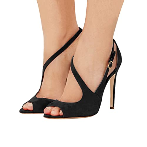 8da4b15c34c1 FSJ Women Peep Toe Buckled Sandals Hollow Out Strappy Heels Cocktail Party  Shoes Size 4 Black
