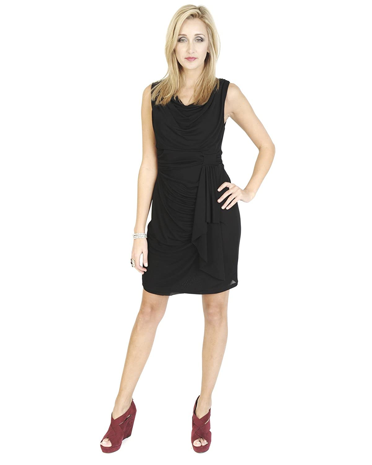 Black Knitted Knee Length Midi Sleeveless Formal Shift Jersey Style Bow Drape Cowl Neck Dress