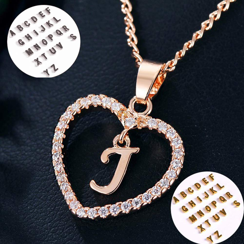 Alivier Heart Necklace 26 Letters Pendant Bridesmaid Gift Gold Silver Necklace