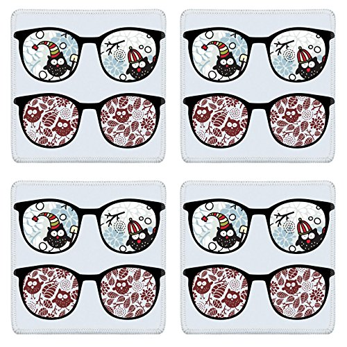 MSD Natural Rubber Square Coasters IMAGE ID: 13239098 Retro sunglasses with winter owls reflection in - Sunglasses Id Price