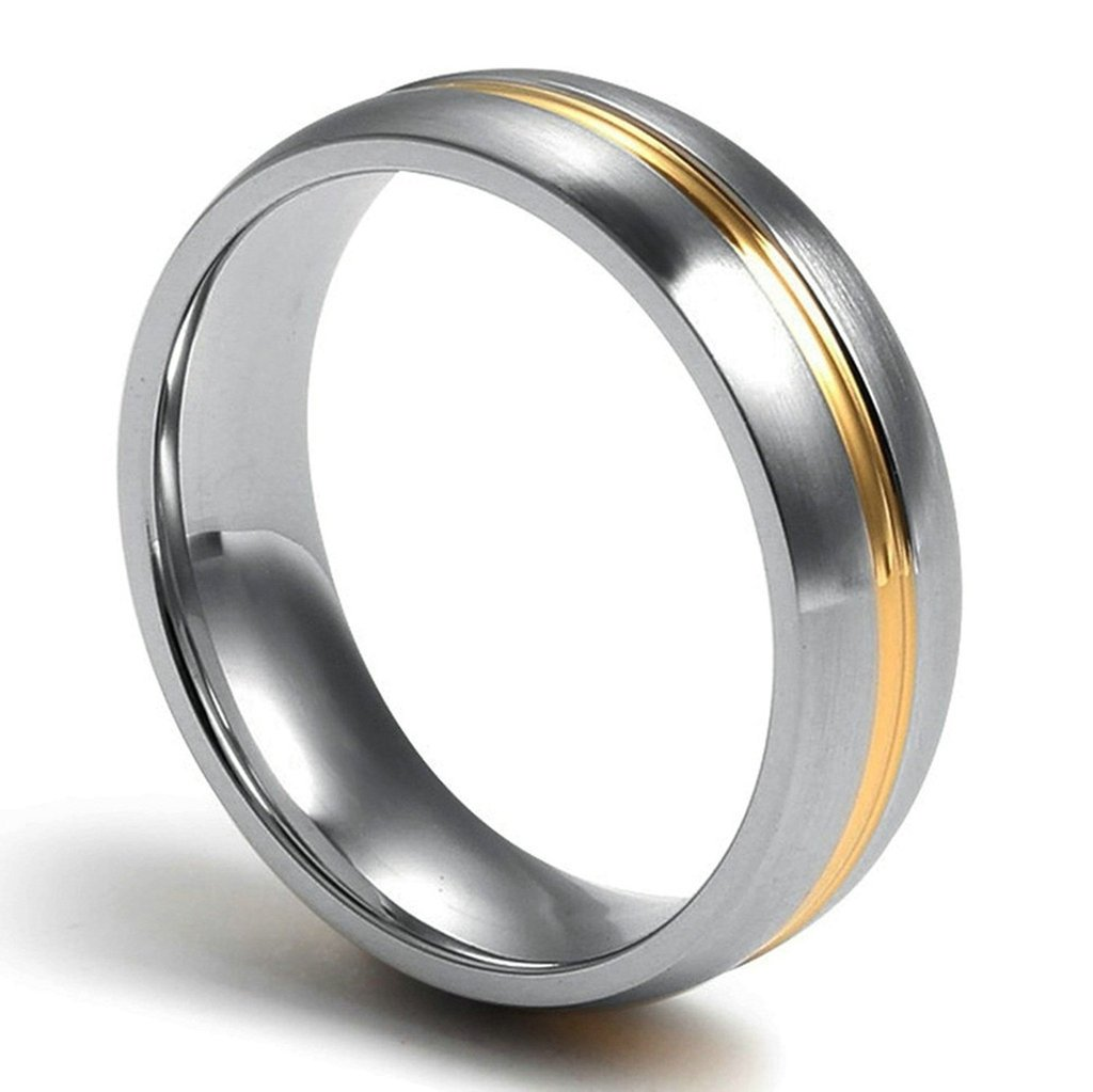 Free Engraving KnSam Men Stainless Steel Bands Gold & Silver One Line Width 6MM Size 6 [Novelty Ring]
