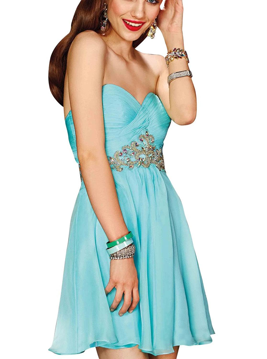 A-line Girl's Homecoming Dresses Open Back Beaded Short Party Gowns